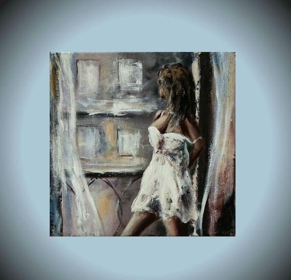 Figurative Painting Sexy Girl Original Art Miniature Canvas Etsy