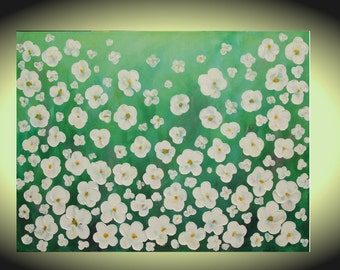 Original gifts for mom large art paintings green field white flower decor acrylic art Wall canvas textured art modern painting floral art