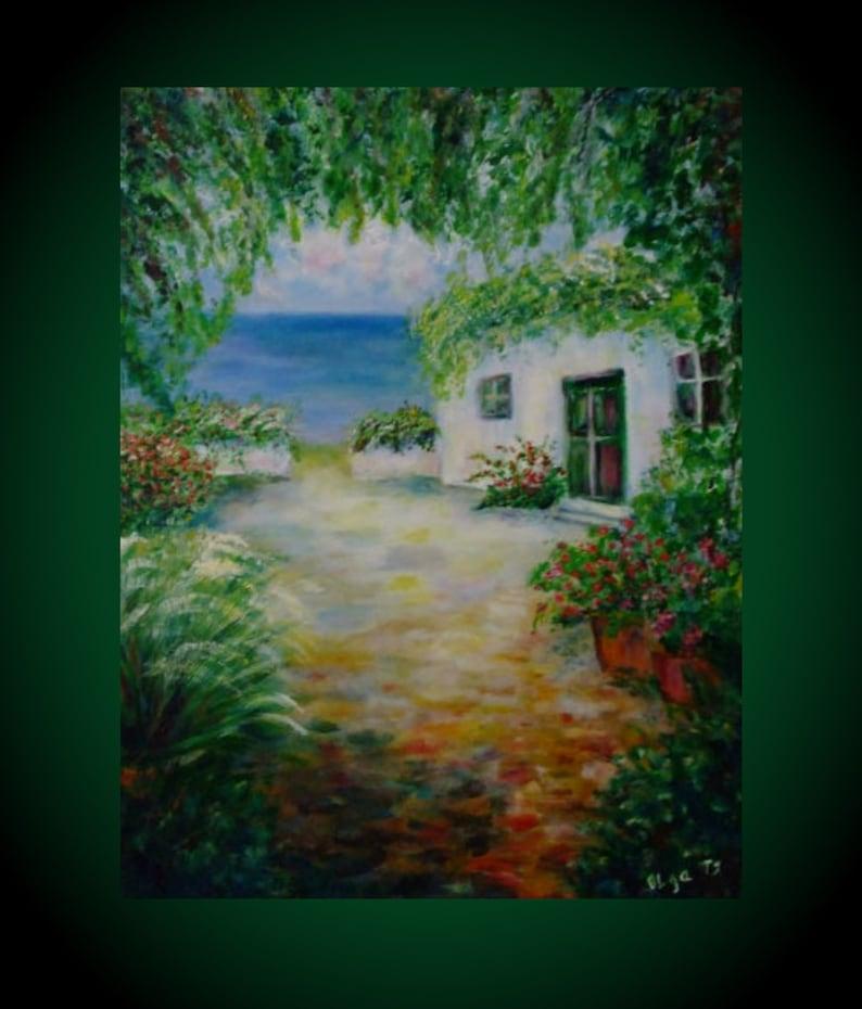 Maison Blanche Original Art Acrylique Paysage Meilleures Idées Etsy