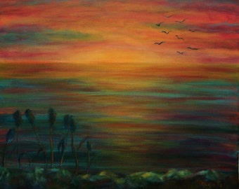 Original painting /orange abstract /gifts idea for him/ abstract painting/ sunset art/ sky wall art/ orange painting ocean sunset sky
