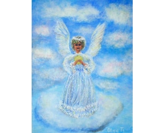 angel art unique painting cute gift ideas christmas gift family happy angel first baby figurative picture fantasy art angel christmas art
