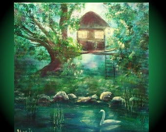 holiday gift christmas gifts idea fantasy art House tree art forest painting white swan lake art canvas art collectibles  free shipping