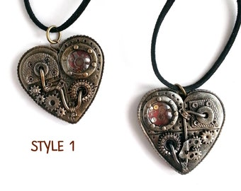 Steampunk Heart Pendant Steampunk Heart Necklace Steampunk Jewelry Mechanical Heart Jewelry Victorian Romantic Jewelry Love Necklace
