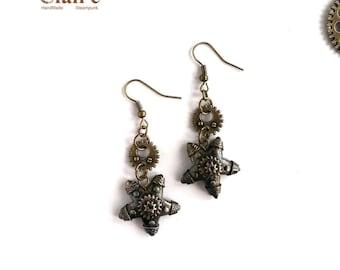 Steampunk Starfish Earrings. Steampunk Jewelry. Sea Star. Starfish Earrings. Mechanical Starfish. Bronze. Victorian style. Industrial.