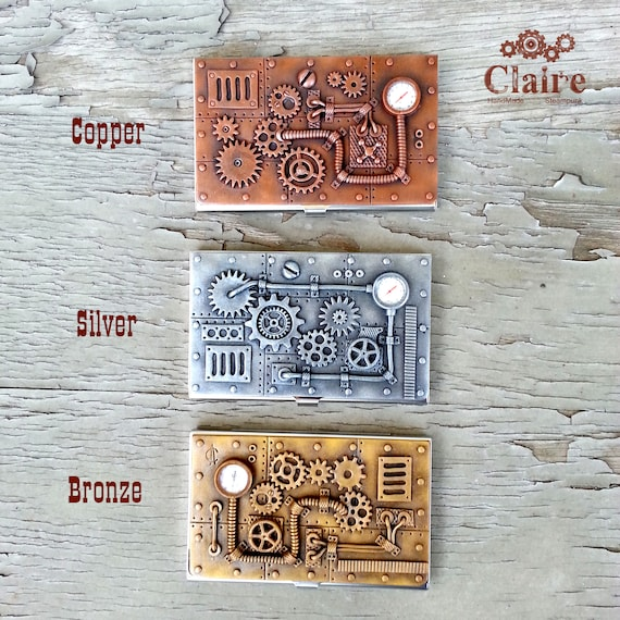 Steampunk Business Card Holder Business Card Case Credit Card Etsy