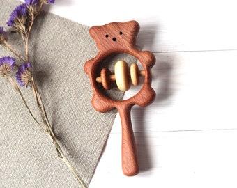 Wooden Bear rattle, Rattle for newborn, Handmade Rattle for baby