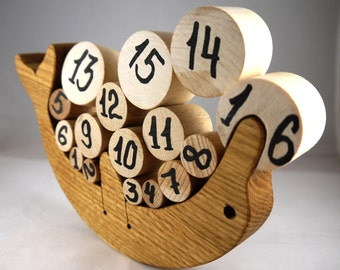 Wooden Balance Toy. Educational Toy with numbers for Toddlers  Natural Wooden Balancer Game  Educational set  Handmade Kids Gift Wooden Toys