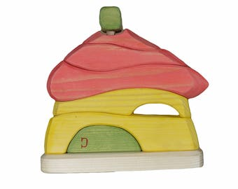The house pyramid, Stacking toy, Wooden house, Baby toy