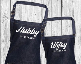 Personalised Hubby and Wifey Wedding Custom Denim Cooking, Valentines, Anniversary, Birthday BBQ Bib Apron, Unisex, Couples Gift