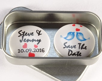 Personalised, Custom Wedding Save The Date Magnet Gift Set, including Gift Tins. Larger quantities available, Handmade, Unique