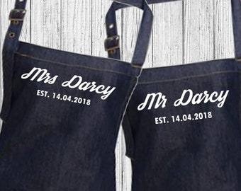Personalised Mr & Mrs Wedding Custom Denim Cooking, Valentines, Anniversary, Birthday BBQ Bib Apron, Unisex
