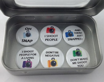 Amusing Photographic Themed 'I Shoot People' Magnet Set. 6 x 25mm magnets complete with gift tin Perfect Stocking Filler Fun gift Handmade