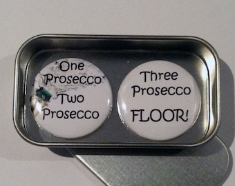 Prosecco Wine Fun Magnet Gift Set with Gift Tin Keepsake Momento Gift for Her Friends Gift Handmade