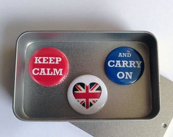 Keep Calm and Carry On Magnet Gift Set with Gift Tin, Handmade, Keepsake, Momento, Union Jack, British Inspired