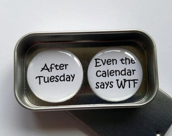 Fun Rude Gift, Card Alternative, After Tuesday Even the Calendar Says WTF. Magnet Gift Set with Gift Tin, Handmade, Keepsake, Momento