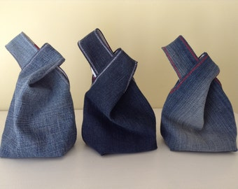 Denim Japanese Knot Bag, Mini Wrist Purse/Bag, Tote Bag, Boho, Recycled Denim, Gift for Her, Handmade, Unique Gift