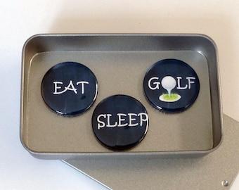 Fun Golf Gift, Eat, Sleep, Golf Magnet Gift Set with Gift Tin, Handmade, Keepsake, Momento, Golf Lover, Golf Mad, Golfer Gift
