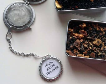 Mothers Day Mum Gift Loose Stainless Steel Tea Infuser Boxed Gift Set Spiced Apple/Orange Spiced Black Tea Choice of Infuser Charms