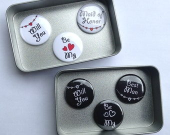 Wedding Bridesmaid Magnet Gift Set, Matron Maid of Honor, Best Man, Ushe,r Flower Girl & Page Boy also available Handmade