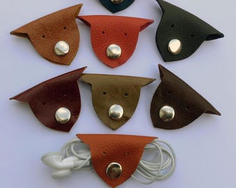 Leather Animal Headphone Wrap Earphone Useful Data Cable Organiser USB Cable Headphone Holder Cable Tidy Cute Handmade Ideal Gift