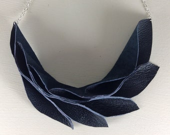 Black Leather Petal Necklace, Origami Design, Statement Jewellery, Party Wear, Handmade, Gifts for Her, Stocking Filler