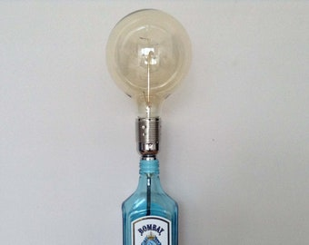 Bombay Up-cycled Gin Bottle Table Lamp, Statement Lamp, Edison Bulb Lamp, Custom & Personalised Options, UK and Euro Plugs Available