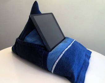 iPad, Tablet, Kindle, Phone, Book Holder Bean Bag Stand, Upcycled denim, Perfect Gift for him or her, Personalised Options Available