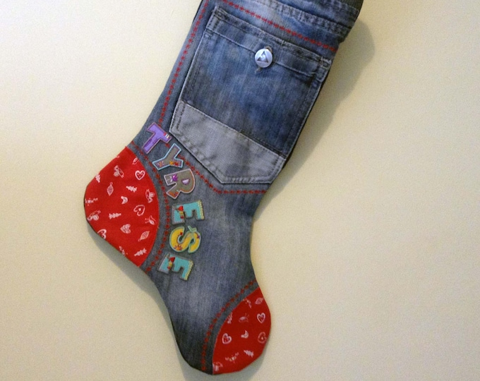 Featured listing image: Personalised Xmas Holiday Stocking, Christmas, Gift, Recycled Funky Denim, Stocking Filler, Child Gift, Gift for Him, Her. Handmade, Unique
