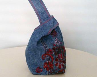 Mini Denim Japanese Knot Bag, Personalised options, Mini Wrist Purse/Bag, Tote Bag, Boho Recycled Denim Gift for Her, Handmade, Unique Gift