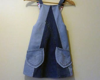 Up-Cycled Jeans Denim Children Japanese Cross Back Apron, Smock, Girls Denim Apron, Denim Dress, Age 6-9, Handmade