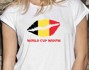 Belgium World Cup Widow Trendy Kiss T-Shirt, Original Tee Distressed Flag Design, 3 Color and 5 Size Options