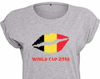 Belgium World Cup 2018 Trendy Kiss T-Shirt, Original Tee Distressed Flag Design, 4 Color and 5 Size Options