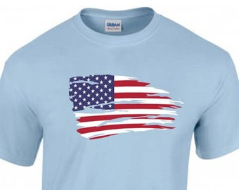 American Flag USA Unisex T-Shirt, Stars & Stripes Faded Design, Original Tee, 6 Color Options