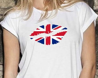 Union Jack Ladies  Kiss Trendy T-Shirt, Original Tee Distressed Flag Design, 4 Color and 5 Size Options