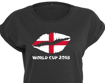 England Ladies World Cup 2018 Trendy Kiss T-Shirt, Original Tee Distressed St. George's Cross Flag Design, 3 Color and 5 Size Options