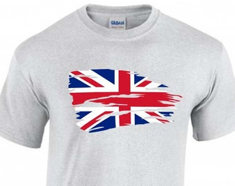 Union Jack Flag Unisex T-Shirt, United Kingdom, Faded Design, Original Tee, 6 Color Options