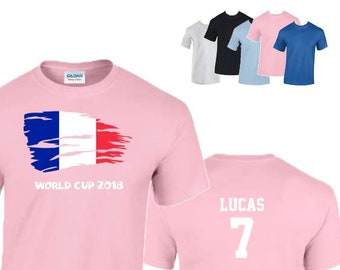 France World Cup 2018 Football Unisex T-Shirt,  French Flag Design, Original Tee, Personalised, Custom Options Available. 5 Color Options