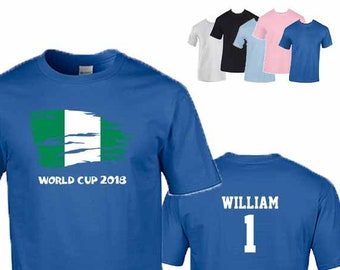 Nigeria World Cup 2018 Football Unisex T-Shirt, Nigerian Flag Design, Original Tee, Personalised, Custom Options Available. 5 Color Options