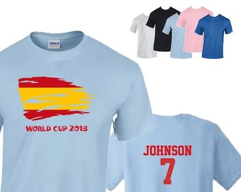 Spain World Cup 2018 Football Unisex T-Shirt, Spanish Flag Design, Original Tee, Personalised, Custom Options Available. 5 Color Options