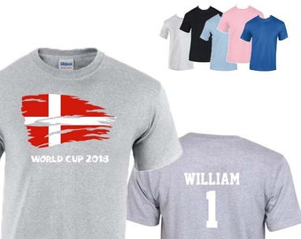 Denmark World Cup 2018 Football Unisex T-Shirt, Danish Flag Design, Original Tee, Personalised, Custom Options Available. 5 Color Options