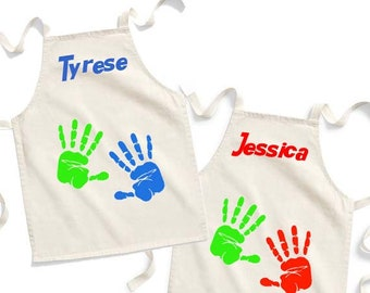 Junior Fair Trade Cotton Craft Apron with Fun Hand Print Design and Personalised Name, One Size, Natural Colour