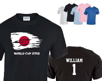 Japan World Cup 2018 Football Unisex T-Shirt, Japanese Flag Design, Original Tee, Personalised, Custom Options Available. 5 Color Options