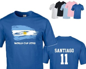 Argentina World Cup 2018 Football Unisex T-Shirt, Faded Design, Original Tee, Personalised, Custom Options Available. 5 Color Options