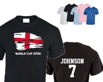 St George's Cross World Cup 2018 Football Unisex T-Shirt, England Flag Design, Personalised, Custom Options Available. 5 Colors