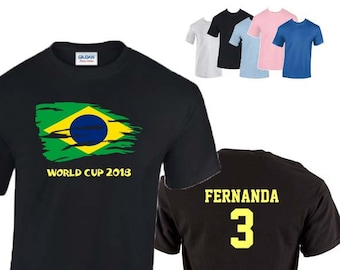 Brazil World Cup 2018 Football Unisex T-Shirt, Brazilian Flag Design, Original Tee, Personalised, Custom Options Available. 5 Color Options
