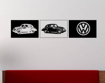Large VW Cars Vinyl Wall Decal Wall Stickers, Matt Vinyl, Contemporary Wall Art, Wall Decor, Murals, Decals, 1500mm x 310mm
