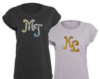 Ladies Initials Personalised Monogram Trendy T-Shirt, Gold or Silver Sparkle design, 4 Color and 5 Size Options