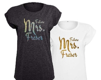 Future Mrs Wedding / Engagement Personalised Trendy T-Shirt, Gold or Silver Sparkle design, 4 Color and 5 Size Options