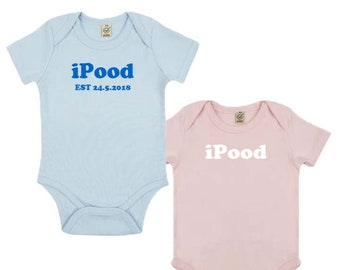 Cute iPood Organic Baby Grow, Environmental Friendly, 0-3 to 12-18 Months, 2 Colors, Personalised Options Available