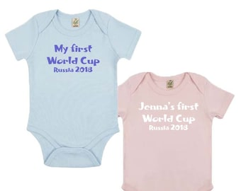 Baby My First World Cup Russia 2018 Organic Baby Grow, Environmental Friendly, 0-3 to 12-18 Months, Personalised Options Available